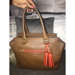 Coach  Orange and Brown Leather Satchel